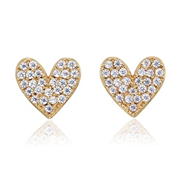 95f739242 Diamond Treats Pave Heart Stud Earrings with Flawless Cubic Zirconia in 925  Sterling Silver. These Sparkling Silver Heart Earrings in a Choice of Silver  or ...