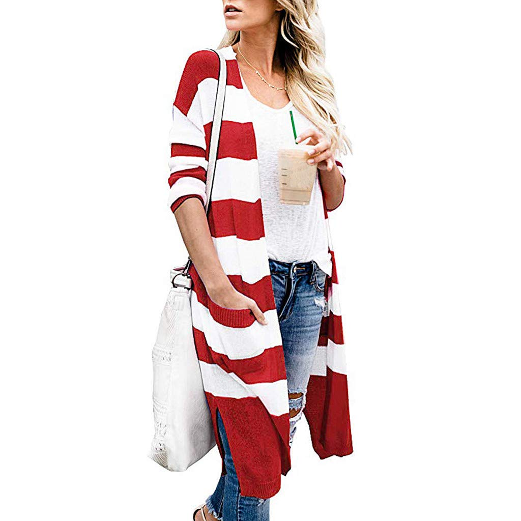 Eoeth Knit Sweaters Cardigan for Women,Fashion Autumn Winter Open Front Casual Pocket Striped Sweater Long Outwear Coat Red by Eoeth