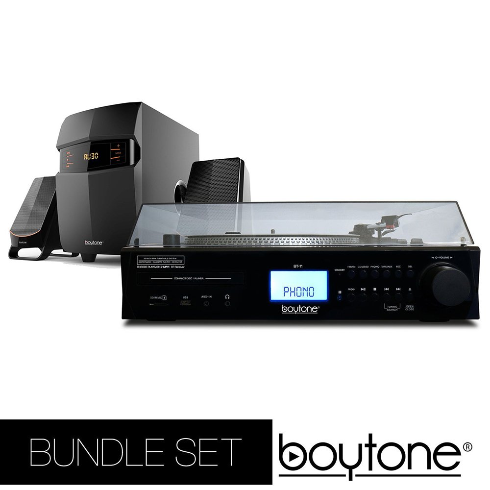 Boytone Bundle set Fully Automatic Bluetooth Turntable + 2.1 Multimedia Speaker, S-Shaped Tone Arm, Adjustable Counterweight & pitch control, AM/FM, Cassette, CD Player USB, SD (BT-11B + BT-3685F) by Boytone