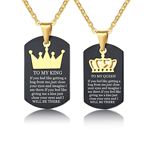 90bca78ee3e64 LF TO MY KING QUEEN Necklace, Stainless Steel Personalized Name Date ...