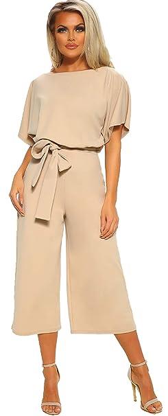7062f70459 Longwu Donna Elegante Tuta a Manica Corta a Vita Alta Pantaloni Larghi per  Le Gambe Pantaloni a Maniche Lunghe con Cintura: Amazon.it: Abbigliamento