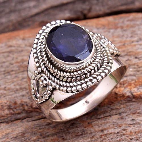 Iolite Blue Gems Silver Ring Designer 925 Solid Sterling Silver Handsome Natural Blue Ring