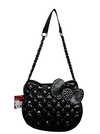 bde3dd6ab4 Hello Kitty Black Quilted Stud Head Shoulder Bag w  Chain Strap   Amazon.co.uk  Clothing