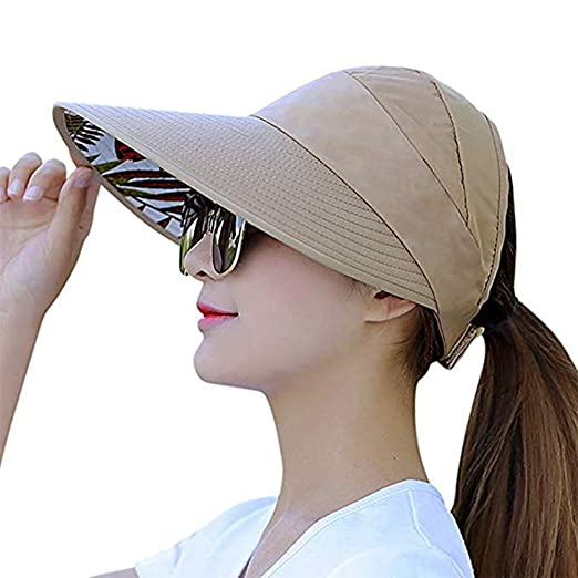 f7986f1eb244a Visor Cap for Women Wide Brim UV Protection Summer Beach Sun Hats (A-Khaki