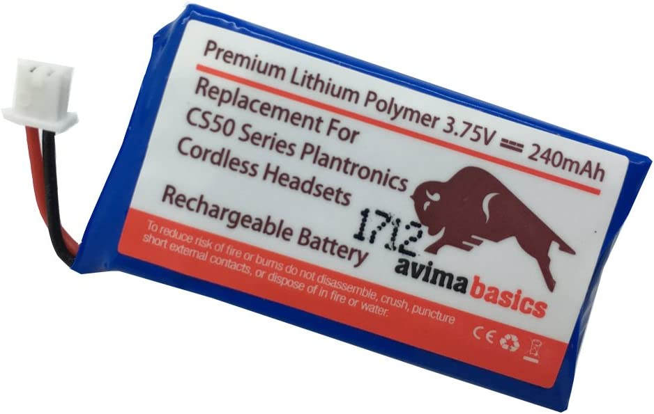 AVIMABASICS 65358-01 Rechargeable Battery Compatible with Plantronics Wireless Headsets CS50 CS50-USB CS55 CS60 Avaya AWH-55 Replaces 64327-01 64399-01 64399-03 64399-01