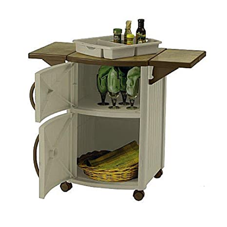 Bbq Prep Table Outdoor Mobile Ceramic Tile Look Top With Drop Lead