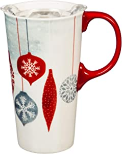 Cypress Home Snowy Days Ceramic Travel Cup and Tritan Lid - 17 OZ