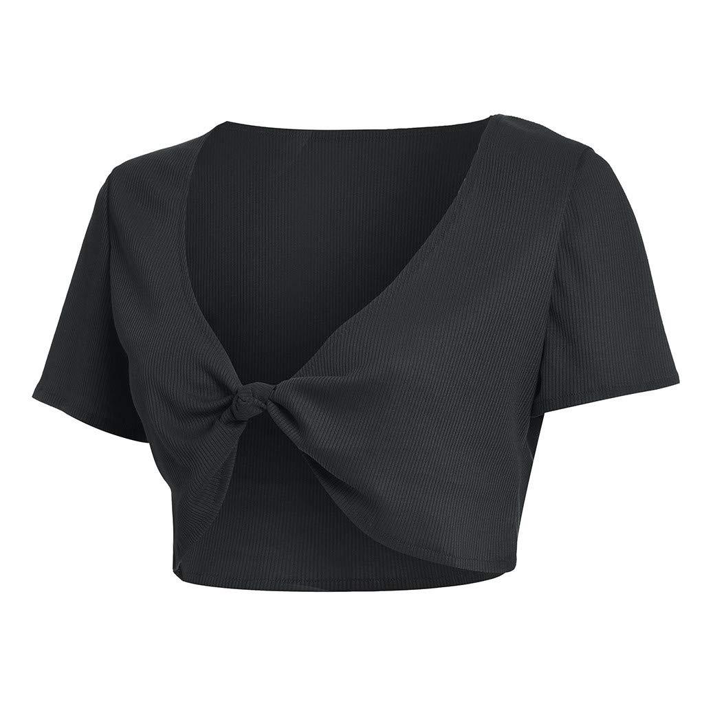 Garish Sexy Women's Bow-Belt Short Sleeve Solid Tie V-Neck Shirt Pullover Crop Tops Solid T-Shirt Dark Gray by Garish (Image #3)