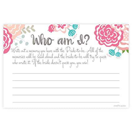 sweet blooms who am i bridal shower game cards 50 count