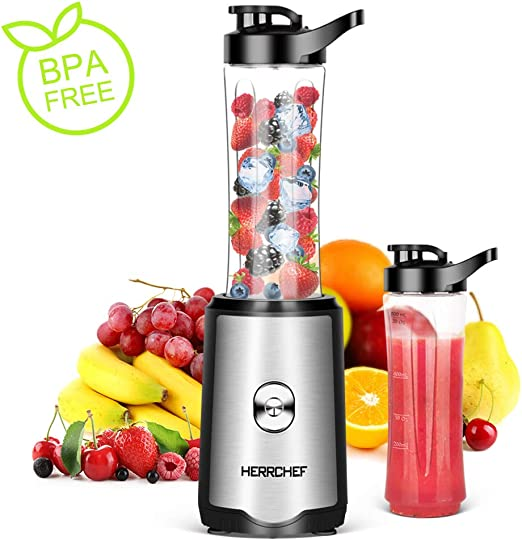 Smoothie Blender, Herrchef Personal Blender for Shakes and Smoothies, 350W Single Serve Blender for Fruits and Vegetables Drinks with 2 x 20oz Tritan ...