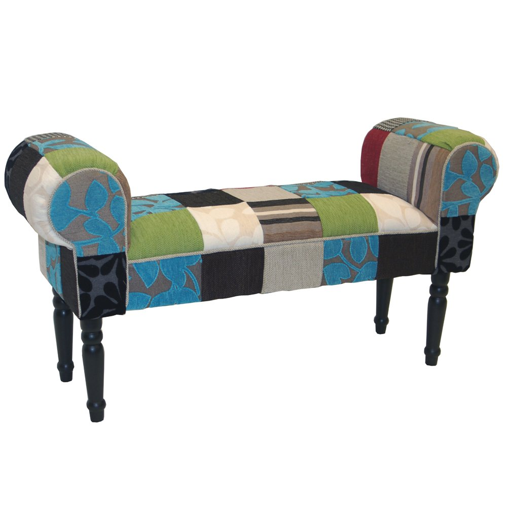 Blue//Green//Red PLUSH PATCHWORK Shabby Chic Chaise Pouffe Stool//Wood Legs