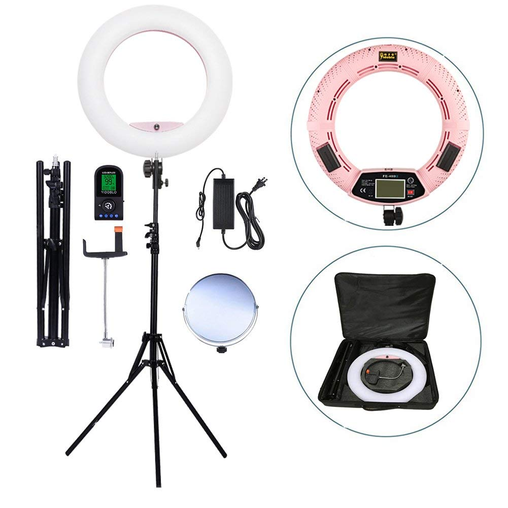 Yidoblo 18 Inch LED Ring Light Kit Bi Color Dimmable Photo Studio Video Portrait Film Selfie YouTube Photography Continuous Lighting Kits w Phone/Camera Holder,Makeup Mirror, (FE-480 WT)