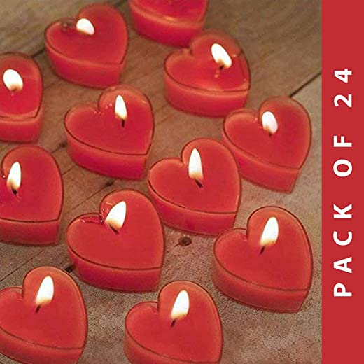 Lighthaus Candles Party Rose Aroma Scented Heart Tealight Candles - Set of 24