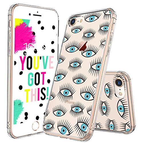 MOSNOVO iPhone 8 Case, iPhone 7 Clear Case, Evil Eyes Printed Pattern Clear Design Transparent Plastic Hard Back Case with TPU Bumper Protective Case Cover for iPhone 7 / iPhone 8
