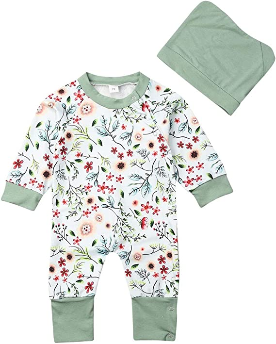 Alaby Baby Girls Boys Floral Jumpsuit Hat Suit Unisex Newborn Long Sleeve Romper Clothes Overall Outfit 0 18m Amazon Ca Clothing Accessories