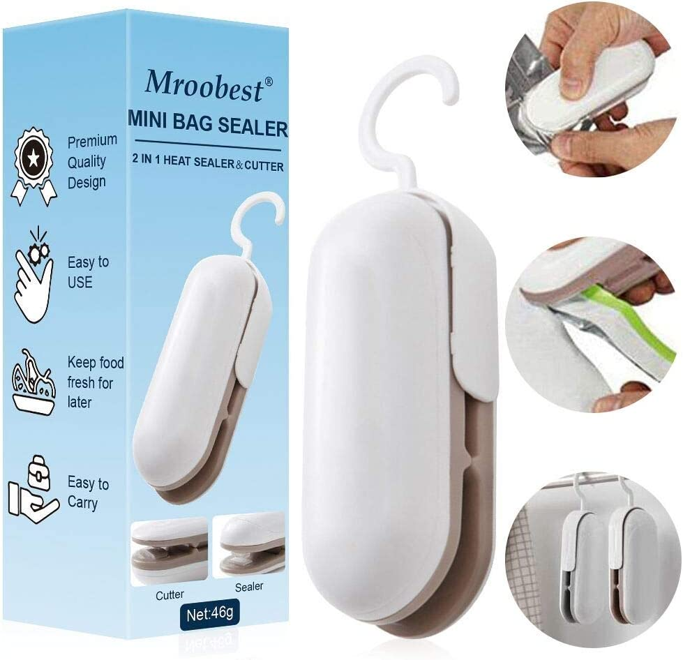 Mini Bag Sealer, Handheld Heat Vacuum Sealers, Bag Sealer with Cutter, 2 in 1 Heat Sealer & Cutter Handheld Portable Bag, Food Storage Snack Fresh Bag Sealer (Battery Not Included)