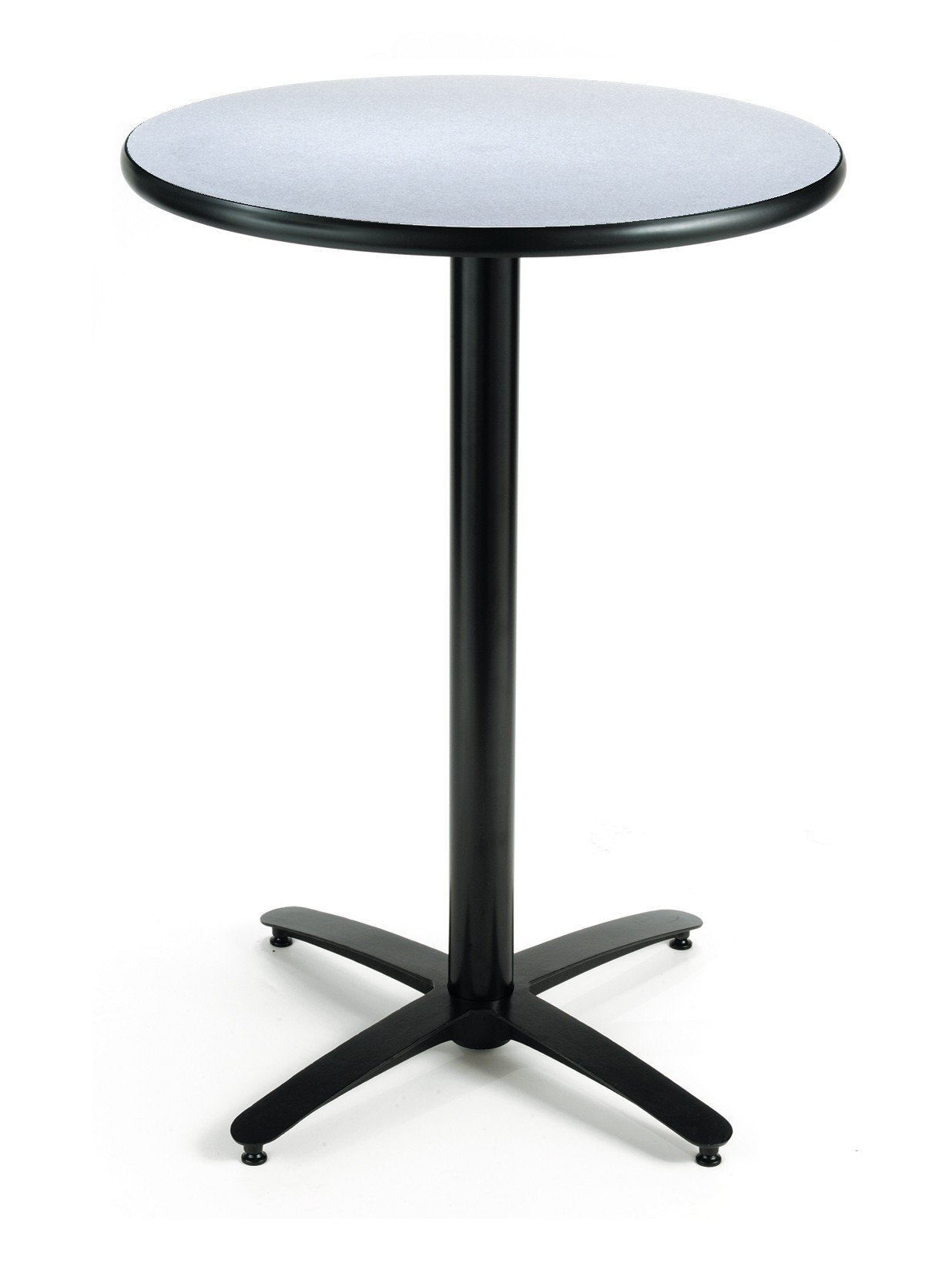 KFI Seating Round Bar Height Pedestal Table with Arched X Base, Commercial Grade, 30-Inch, Grey Nebula Laminate, Made in the USA by KFI Seating