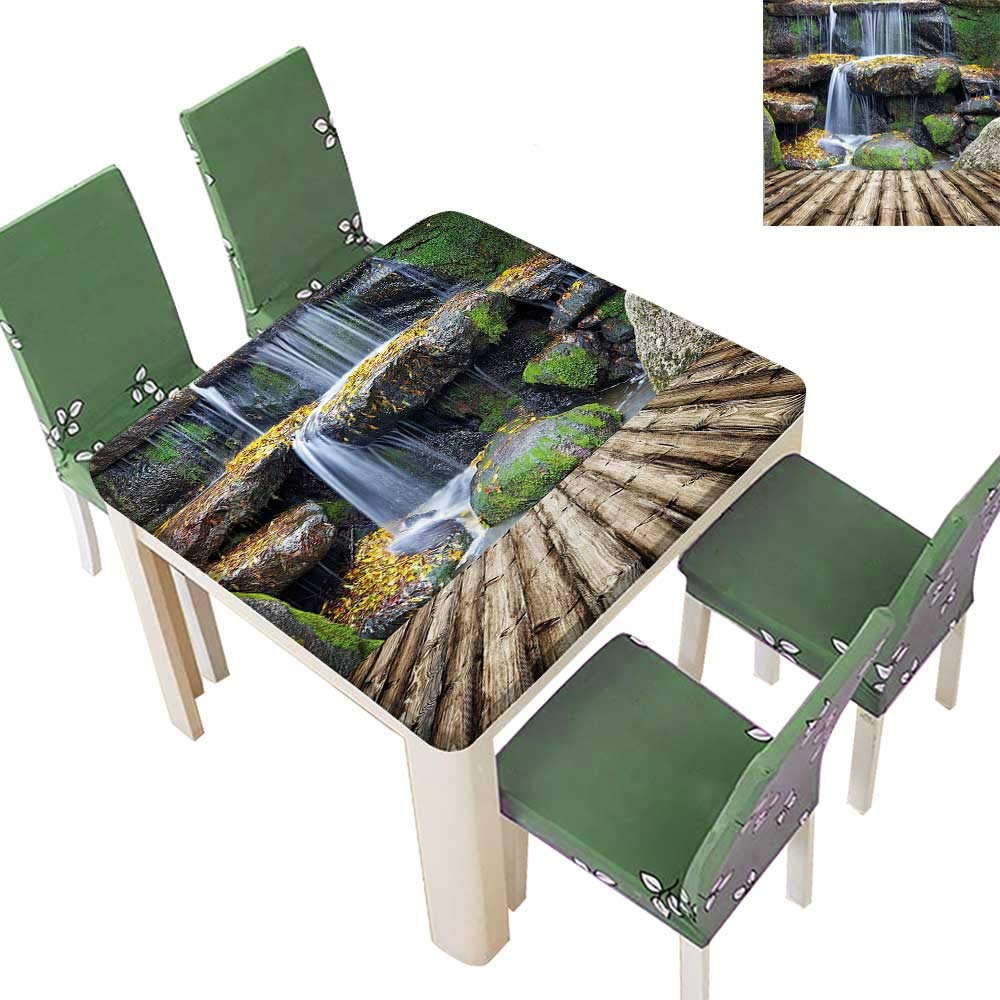 Printsonne Indoor/Outdoor Box Like Waterfall Aside of a Wood Pier with Fall Leaves on its Kitchen Tablecloth Picnic Cloth 52 x 52 Inch (Elastic Edge)