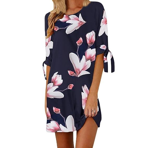 Overdose Vestido Sueltos para Mujer con Estampado Mini Floral Bowknot Mini Casual Mitad De Fiesta (