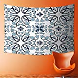 Tapestry Wall Hanging Tapestry Decor Medieval Persian Palace Flower Leaf Shapes Arabian Decor Artwork Light Blue Home Room Wall Decor