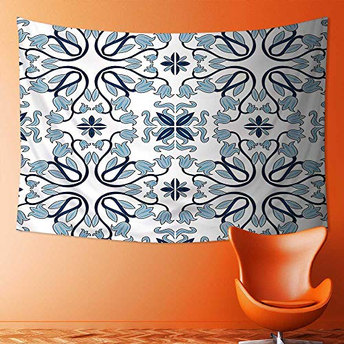Tapestry Wall Hanging Tapestry Decor Medieval Persian Palace Flower Leaf Shapes Arabian Decor Artwork Light Blue Home Room Wall Decor by L-QN