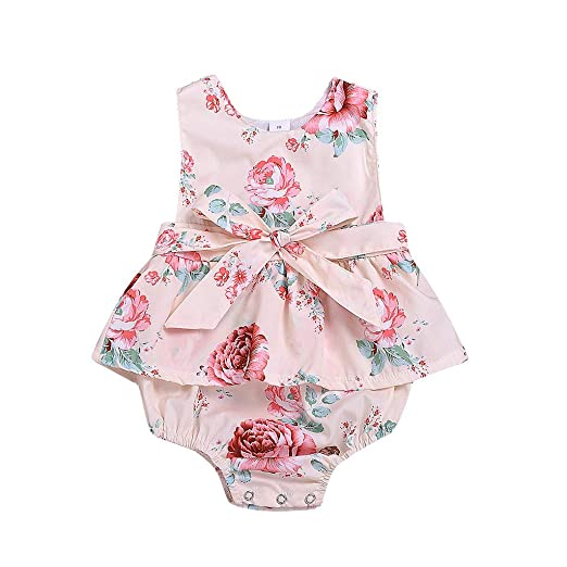 be5ea104a52e4 Amazon.com: Infant Toddler Baby Girls Floral Print Romper Jumpsuits ...