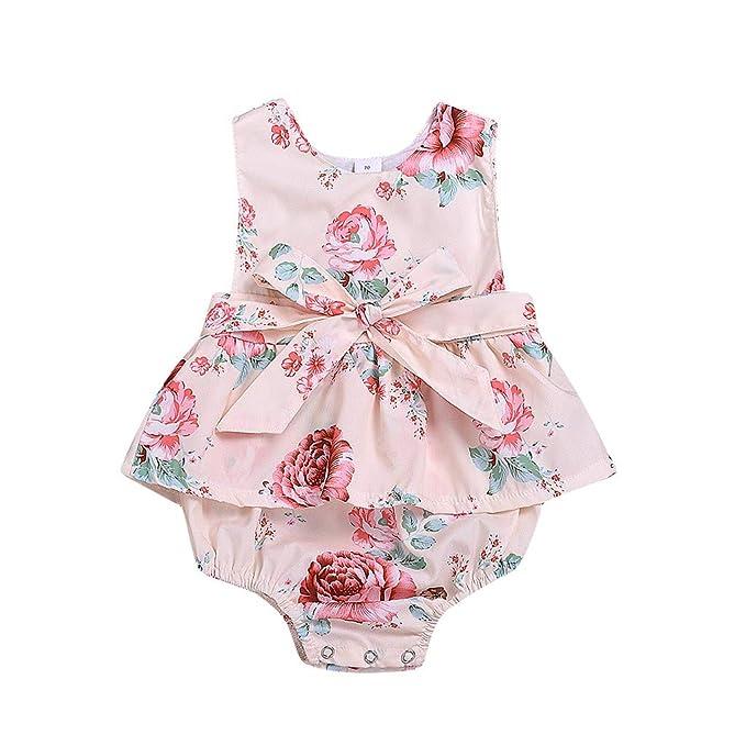 Ropa Bebe Niña Verano Fossen Recién Nacido 0 a 24 Meses Bodys sin Mangas con Flores y Bowknot