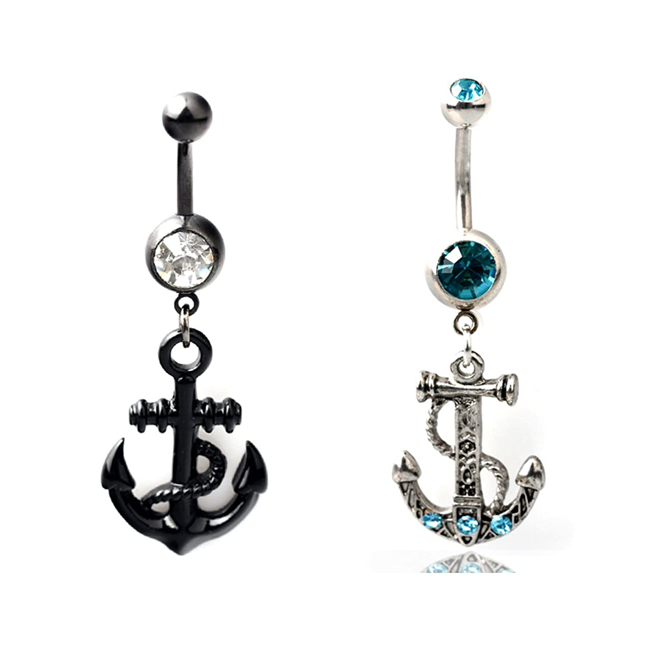 BODYA Lot of 2pc Crystal Rhinestone Anchor Dangle Navel Belly Button Barbell Ring Body Piercing black blue JW1100+JW1101