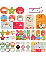 TOROKOM 90 Pcs Self Adhesive Easter Gift Tags Sticker, Holiday Name Labels Happy Easter Bunny Eggs Chick Presents Labels for Wrapping Paper and Gift Bags Decorative Tags(12 Sheets)