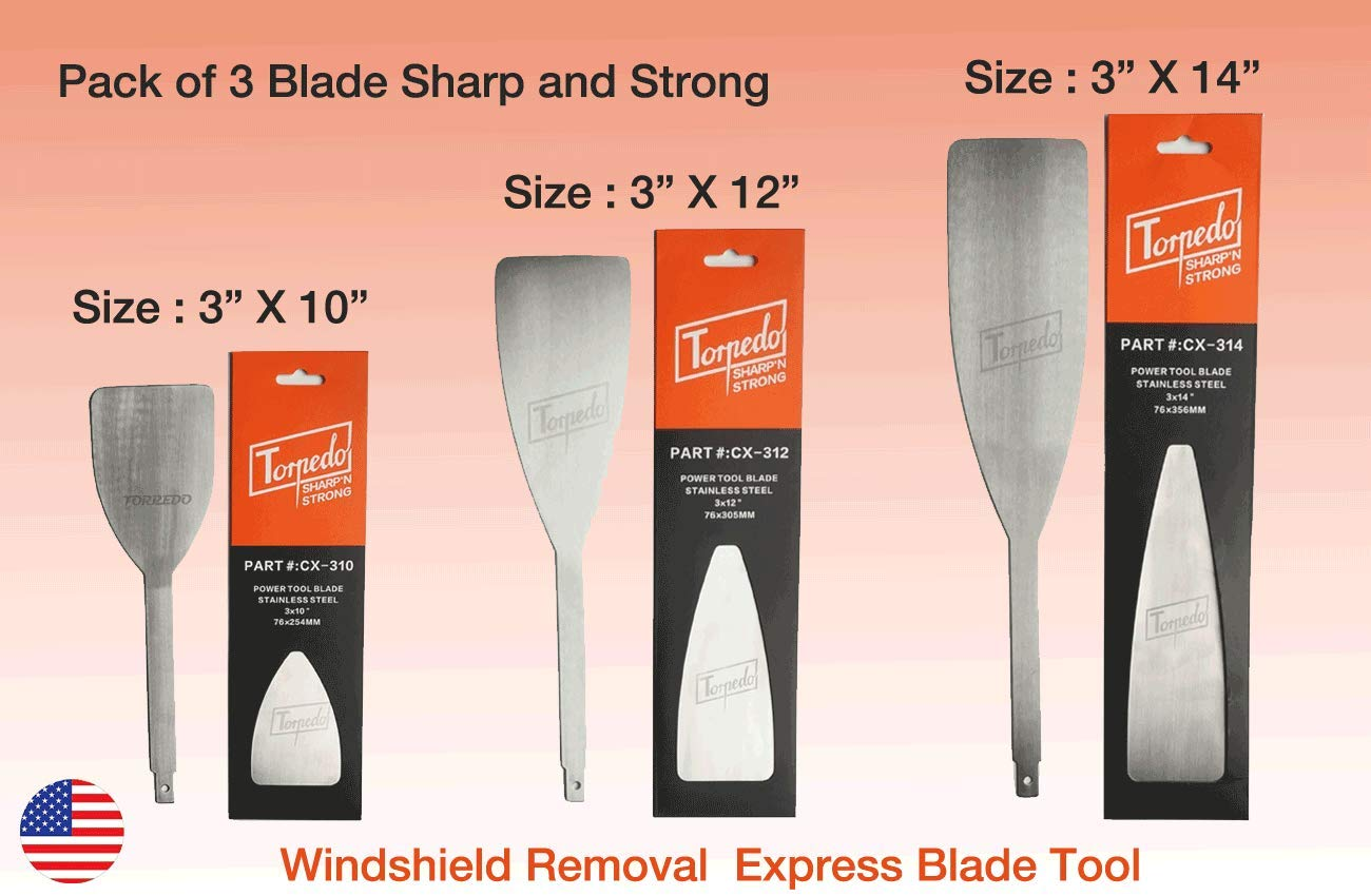 3 PACK TORPEDO Windshield Express removal Blade Autoglass Tool, FOR - Equalizer Ambush Blade, Black ops, Push Knife Blade, Equalizer Stingray, Windshield Replacement blade 3 X 10in, 3 X 12in, 3 X 14in