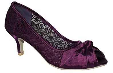 b4a6d028bc0 Ladies Satin Lace Evening Wedding Party Low Mid Heel Peep Toe Shoes Size UK  3-