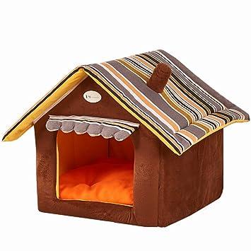 ACTNOW - Cama plegable para mascotas de 3 tamaños de techo triangular, color marrón