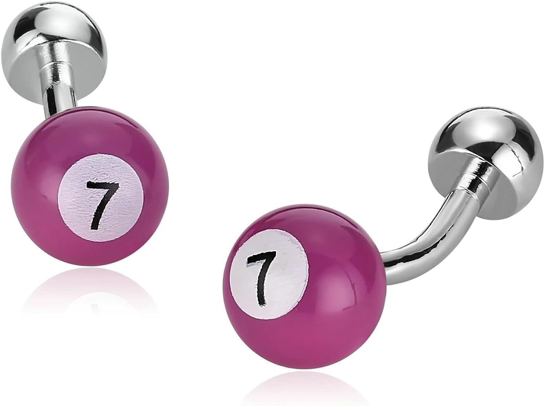 Aimsie 1 Par de Los Hombres Gemelos Billar Bola de Billar Número 7 Rosa Roja 1.2×1.2 cm para Ocasiones de Negocios de Boda: Amazon.es: Joyería