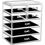 Makeup Organizer Acrylic Cosmetic with 7 Storage Drawers and Jewelry Display Box One-piece