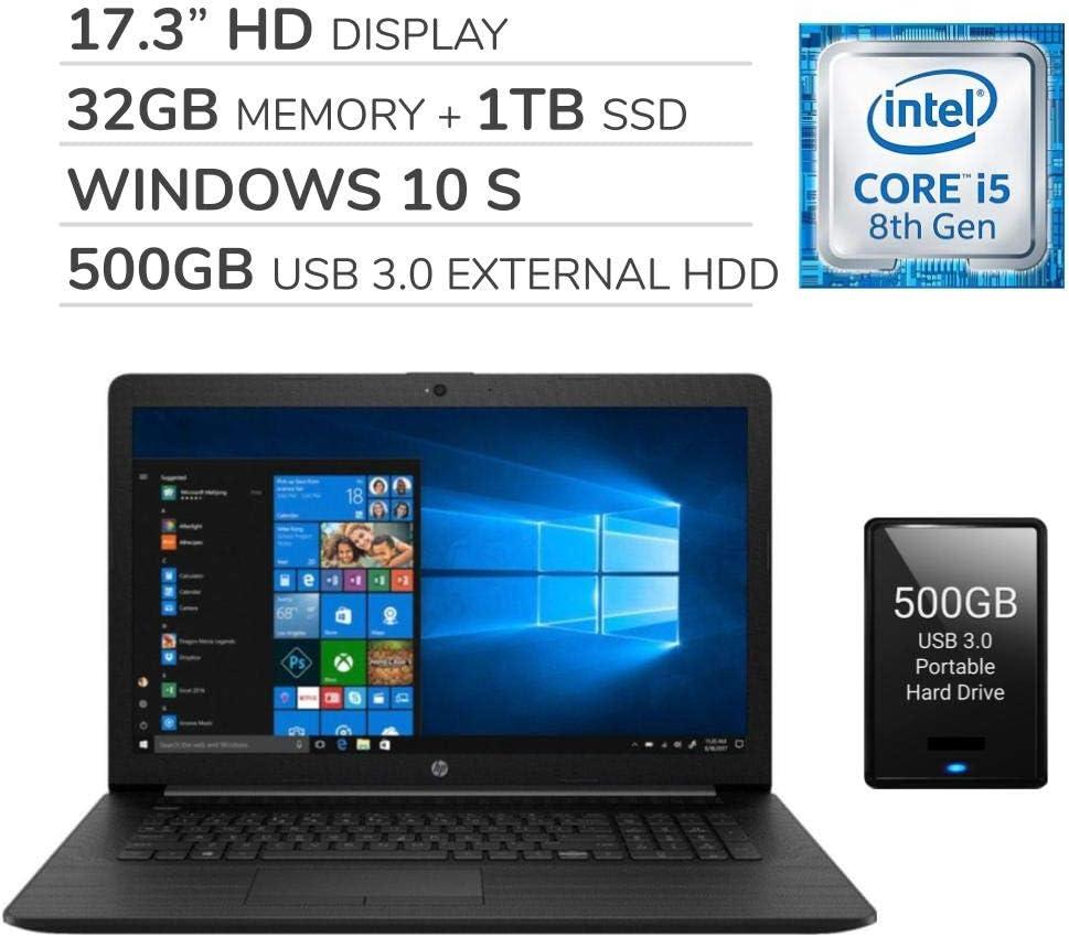"""HP 2020 Premium 17.3"""" HD Laptop, 4 Core Intel i5-8265U 1.60 GHz, 32GB RAM,1TB SSD, DVD, Wi-Fi, Bluetooth, Webcam, HDMI, Windows 10 S,500GB USB 3.0 External HDD"""