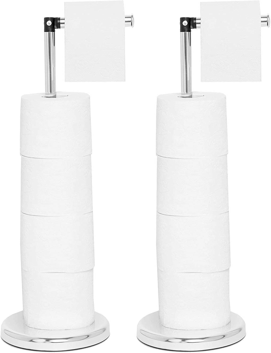 Freestanding Toilet Roll Holder - Stylish & Practical Design by Pristine® (2 Pack Chrome)