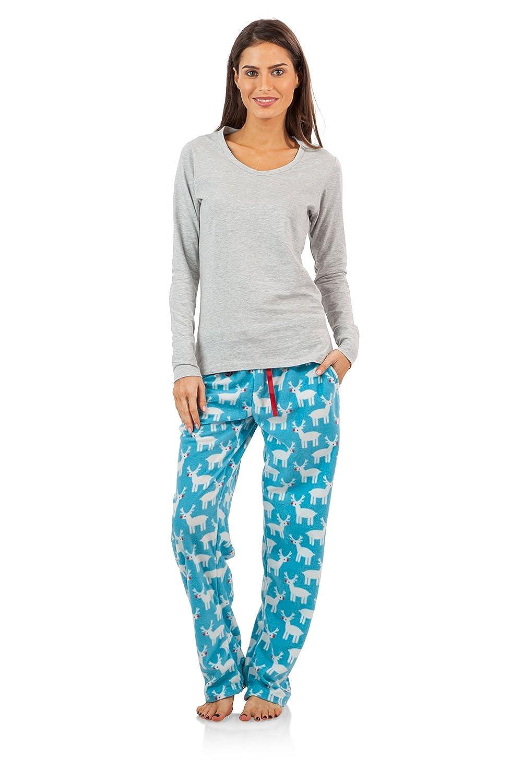 Ashford & Brooks Women's Long Sleeve Cotton Top with Micro Fleece Pants Pajama Set ABW78555MFSET