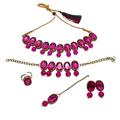 291320ca7a794 Apsara Art Jewellery Gold Plated Rani Pink Glass Stones Studded in Necklace  with Pearl Drop, Earring, Bracelet, Ring and Maang Tikka Set for Women