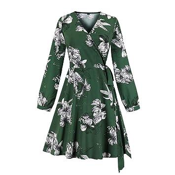 Masrin - Vestido de Mujer con Escote en V, Estampado de Flores ...