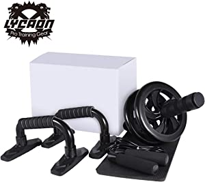 LYCAON Ab Wheel Roller Set 4 in 1 Includes Ab Wheel Roller, Push-Up Bar, Skipping Rope and Knee Pad, Roller Wheel Kit for Lose Weight, Fitness, Exercise Abdominal Muscles, Work Out at Home, Gym