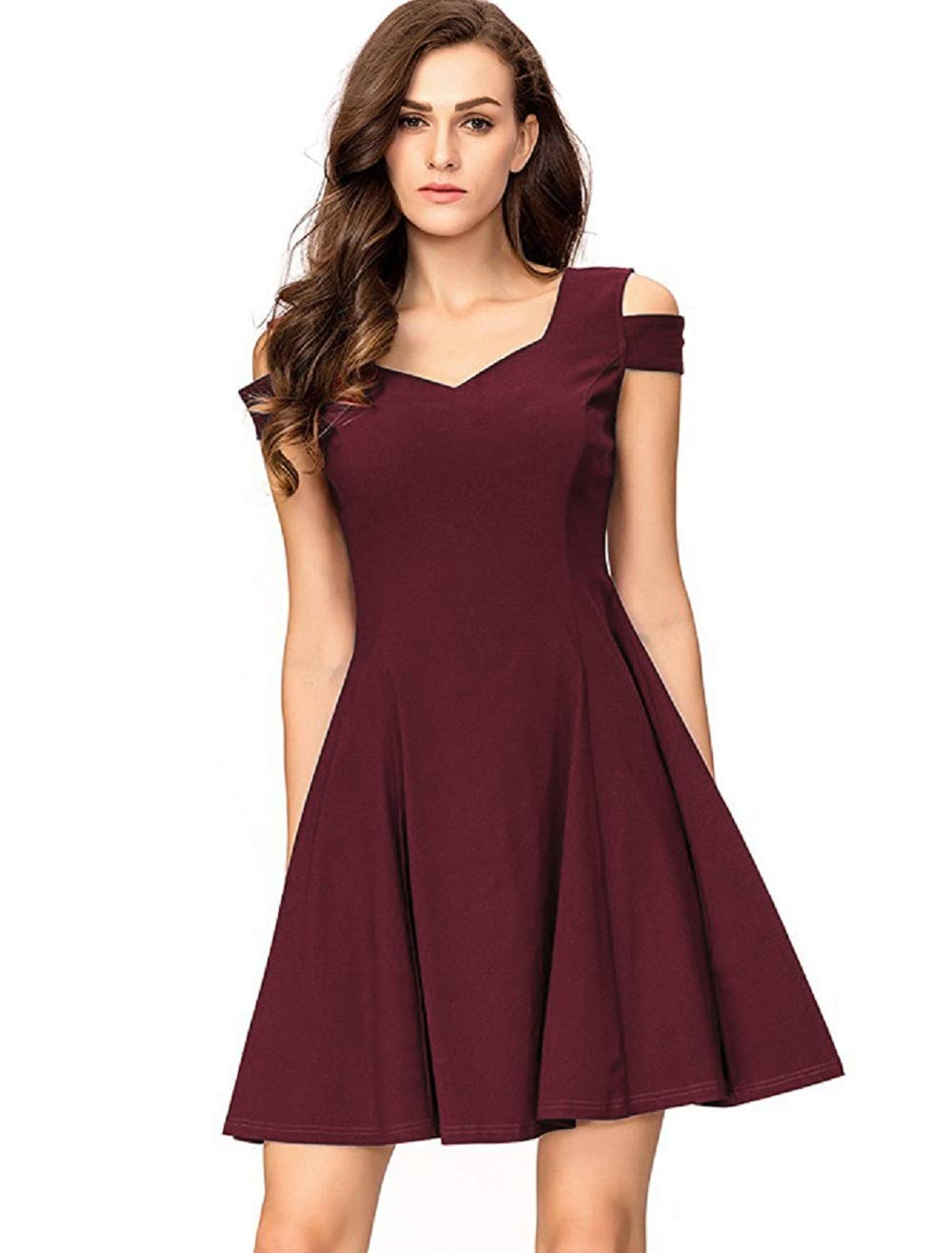 InsNova Burgundy Cold Shoulder A-Line Semi