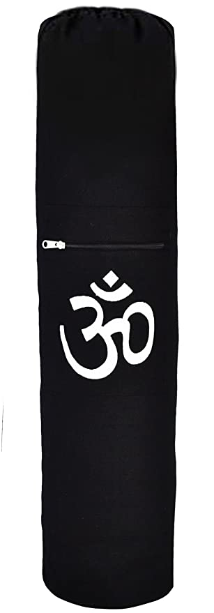 YogaAccessories Negro Om algodón Yoga Mat Bolsa - Cordón ...