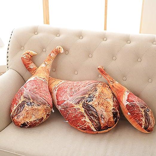 Queta - Almohada de felpa rellena de diseño de jamón en 3D para ...