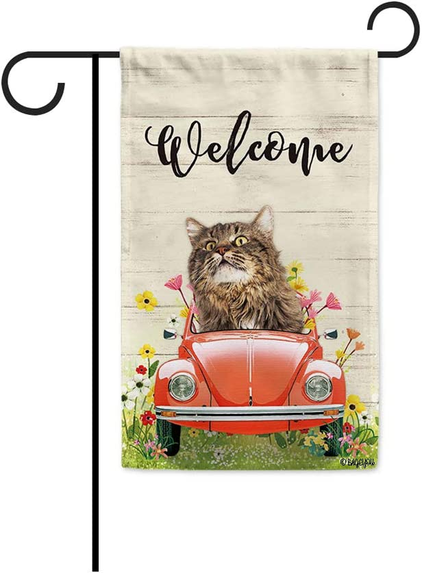 BAGEYOU Welcome Spring Dog Garden Flag Lovely Maine Coon Driving a Vintage Car Summer Flowers and Lawn Decor Home Banner for Outside 12.5x18 Inch Print Both Sides