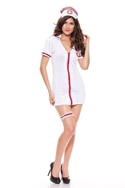 27f7adcbb07bb Nurse Cosplay - Naughty Nurse Outfit Lingerie Halloween Costume White Nurse  Uniform Sexy Nurse Dress