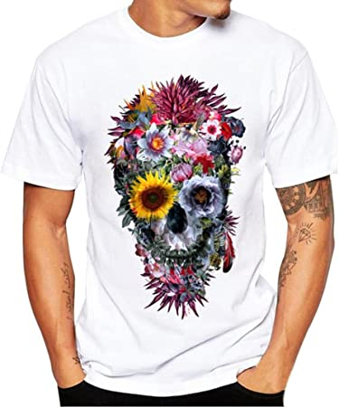 QinMM Camiseta cráneo Estampada Hombre, Tops Blusa Floral Manga Corta de Verano Camisa