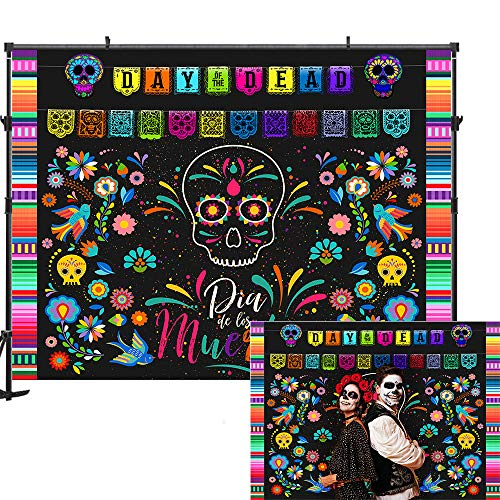 Allenjoy 7x5ft Mexican Fiesta Day of The Dead Photography Backdrop Dia DE Los Muertos Photography Background Sugar Skull Calaca Dress-up for Party Decoration Photo Booth Shoot Studio Props