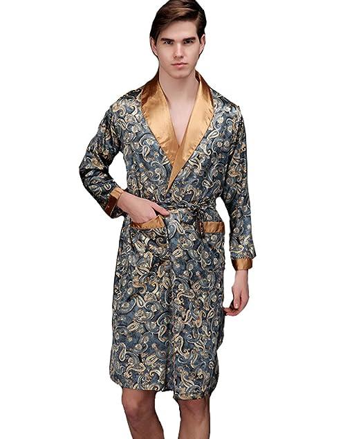 Pijama Hombre Abierto Bata Albornoz de para Dormir Baño para Hombres Satén Kimono Pijamas Otoño: Amazon.es: Ropa y accesorios