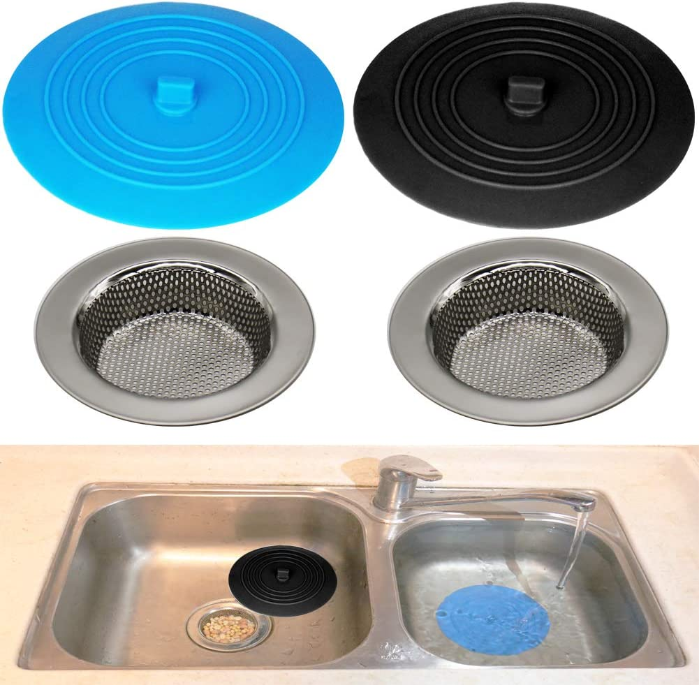 Seatery 4PCS Kitchen Sink Strainer Stopper Kit, Universal Silicone Sink Drain Plug Cover, Drain Water Stopper, 4.5 Inch Stainless Steel Sink Drain Strainer, Food Debris Catcher for Kitchen