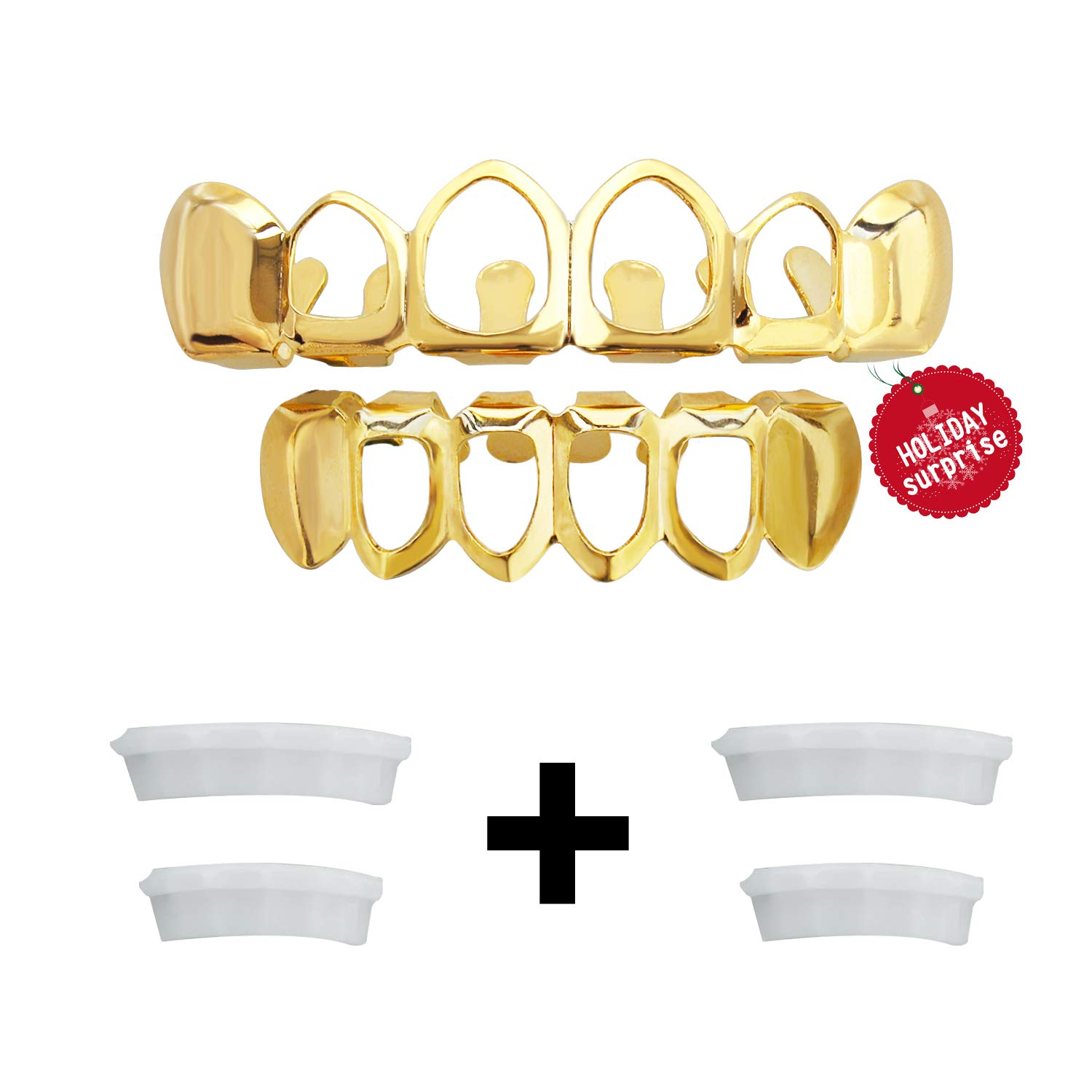 TSANLY Gold Grillz Teeth New Custom Fit Gift Teeth Grills Best Gift for Son 14k Gold Grillz Plated Open Face Teeth Grillz Caps Top & Bottom Grill Set for Kids + Microfiber Cloth